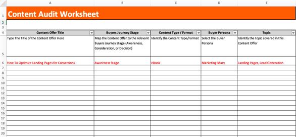 HubSpot content audit worksheet