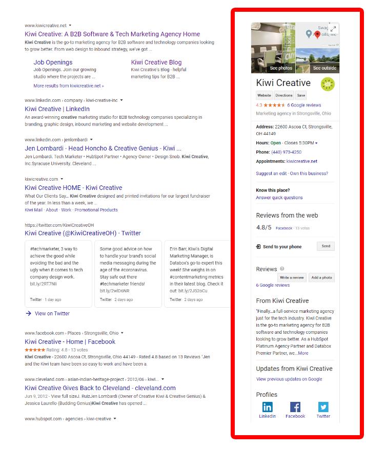 Kiwi Creative's Google My Business